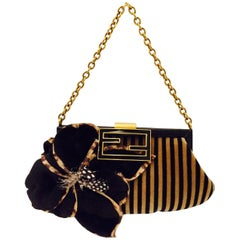 Fendi Black and Tan Velvet Striped Evening Bag With Mink Embellished Flower