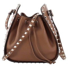 Valentino Rockstud Drawstring Bucket Bag Leather Small