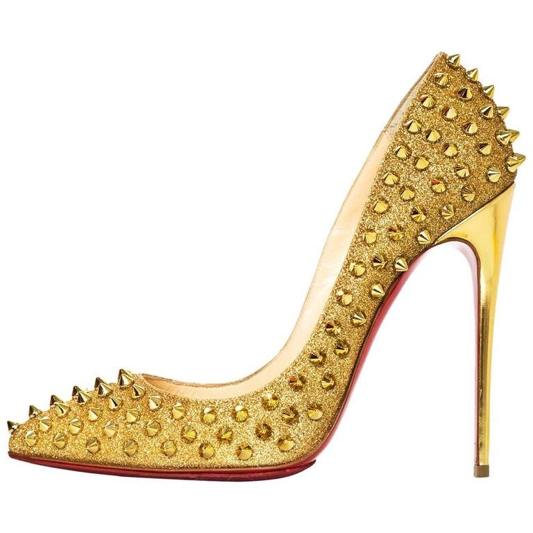 e73b5c2aa7e Christian Louboutin Gold Spiked Pigalle Follies 120 Pumps Sz 38 with DB