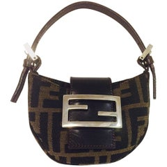 Famous Fendi Iconic Brown & Black Zucca Fabric with Brown Leather Strap & Flap