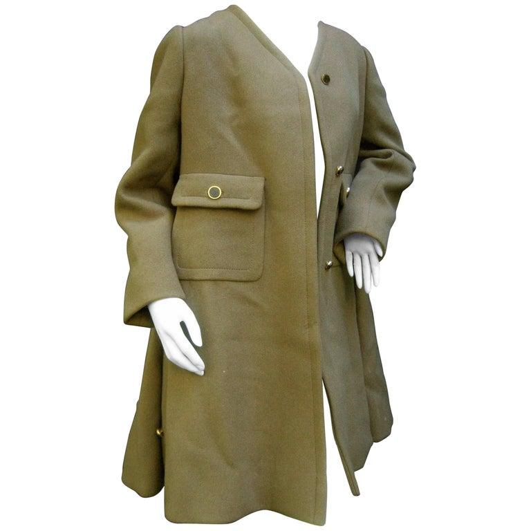 Galanos Mocha Brown Wool Winter Coat c 1970