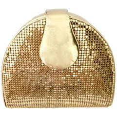 80'S Whiting & Davis Gold Metal Mesh & Leather Hand Bag