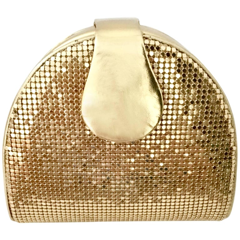 80'S Whiting & Davis Gold Metal Mesh & Leather Hand Bag For Sale