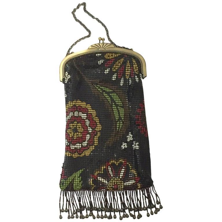 Whiting & Davis 20th Century Metal Mesh Enamel Floral Flapper Evening Bag For Sale