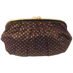 Louis Vuitton Limited Edition Monogram Aumoniere Satin Brown & Gold Bag
