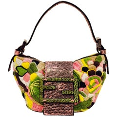 Fun Fendi Floral Mini Croissant Bag with Pink & Green Lizard Flap