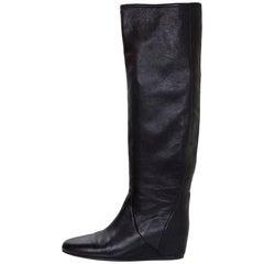Lanvin Black Leather Boots Sz 38