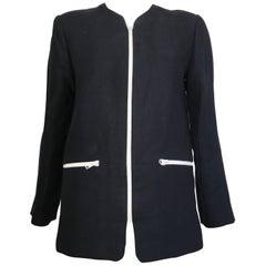 Geoffrey Beene 1990s Navy Linen Zipper Jacket Size 6 / 8.