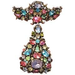 Divine Hollycraft Signed Faux Multi Gem Christmas Angel Dangle Brooch Pin
