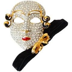 Ugo Correani Venetian Drama Face Mask RhinestoneBrooch