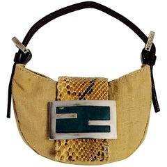 Forever Fendi Camel Color Linen Mini Croissant Bag with Python Leather Flap