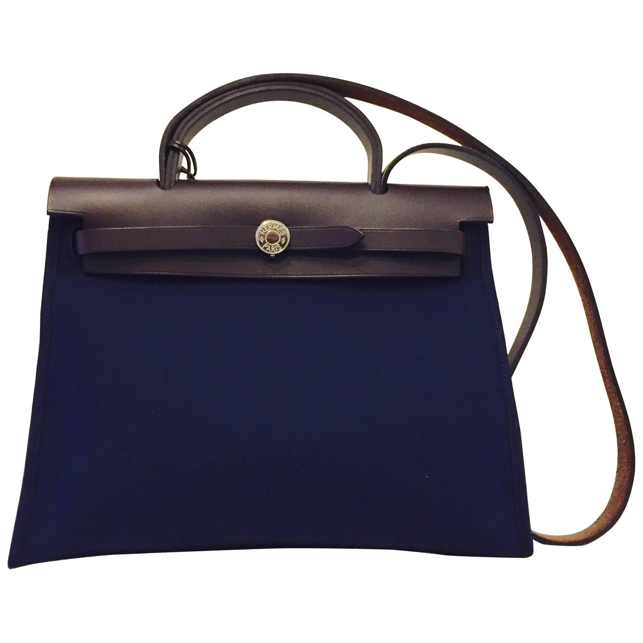 a61814ae8317 ... free shipping hermès toile vache hunter herbag in blue with brown  leather trim pm 31 phw ...