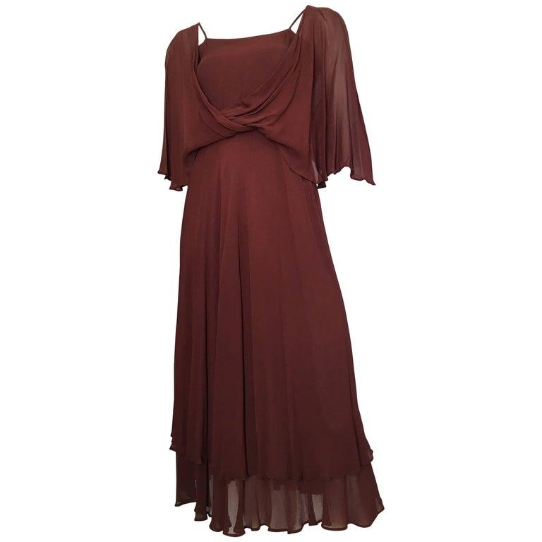 Albert Nipon 1980s Rusty Brown Flowing Dress Size 4.