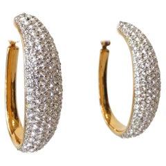 Vintage Swarovski Crystal Hoop Earrings