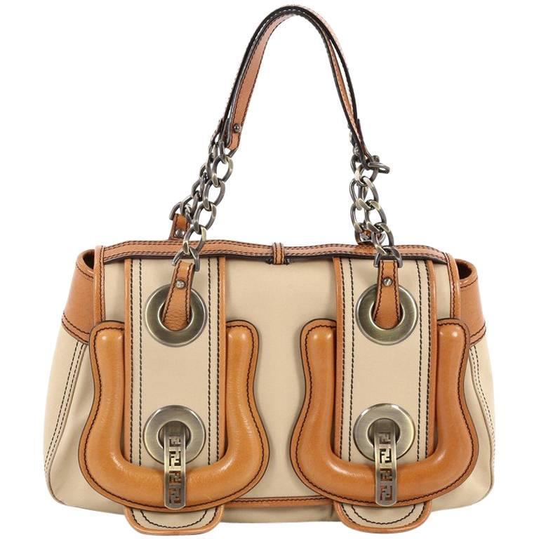 Fendi B Bag Canvas With Leather Medium For