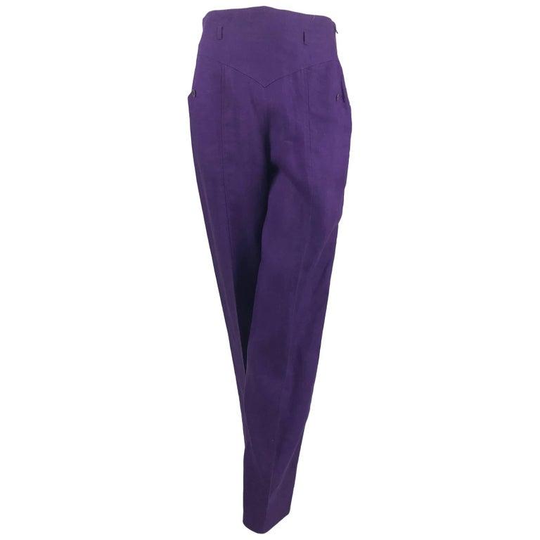 Gucci purple linen high waist trousers 1980s