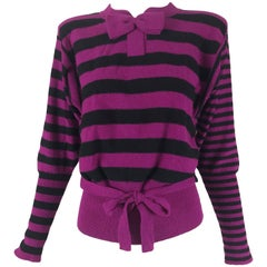 Sonia Rykiel fucsia and black knit bow tie sweater