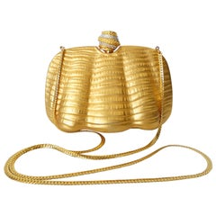 Gold Metal Clamshell Evening Bag