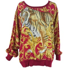 Salvatore Ferragamo silk tiger print top 1980s