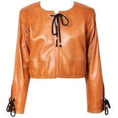 Yves Saint Laurent Caramel Cropped Leather Jacket
