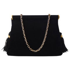 1970s Saks Fifth Avenue Black Velvet Tassel Bag