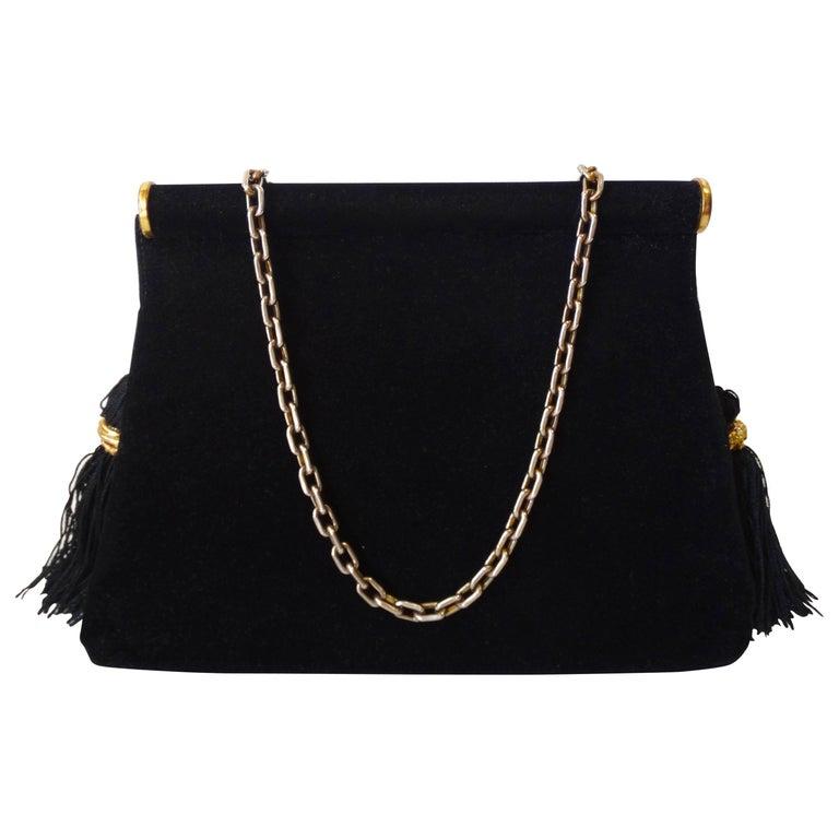 1970s Saks Fifth Avenue Black Velvet Tassel Bag