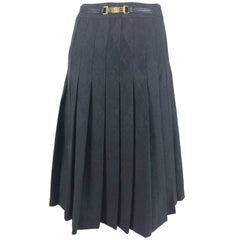 Celine grey wool jacquard pleated skirt 1990s