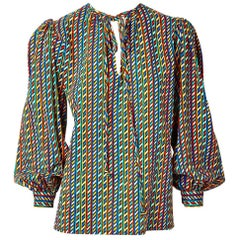 Yves Saint Laurent Wool Challis Patterned Peasant Blouse