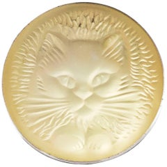 Lalique Cat Brooch Pin with Box