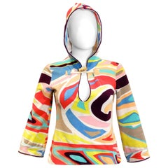Emilio Pucci Hooded Terry Cloth Pullover with Cork Toggle, 1980S
