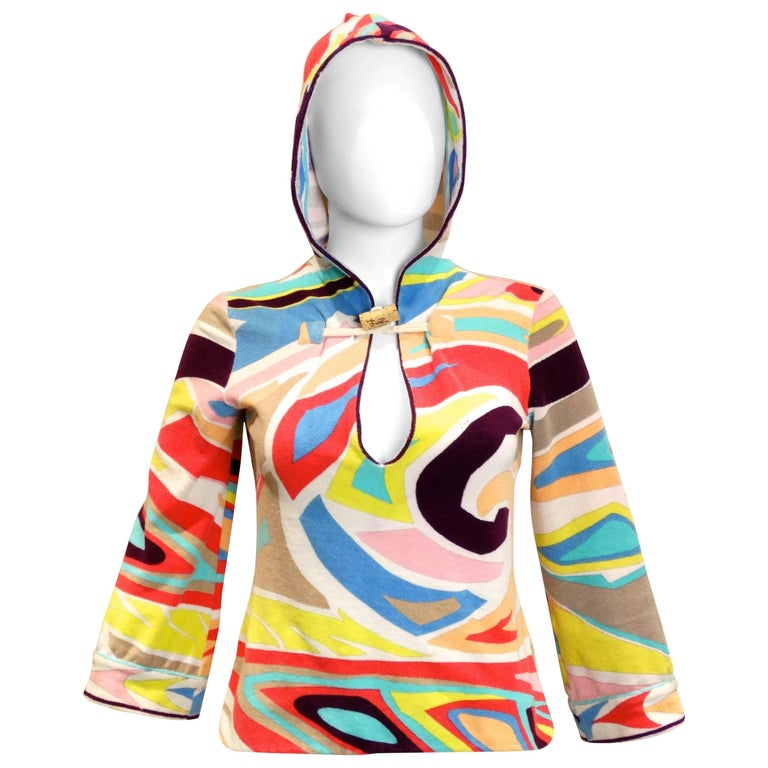 1980S Emilio Pucci Hooded Terry Cloth Pullover w/Cork Toggle