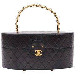 Chanel Black Lambskin Quilted Vanity Jewelry Travel Top Handle Satchel Bag