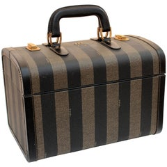 Fendi Train Case Carry On Pequin Stripe Canvas Leather Vintage Travel 1970s