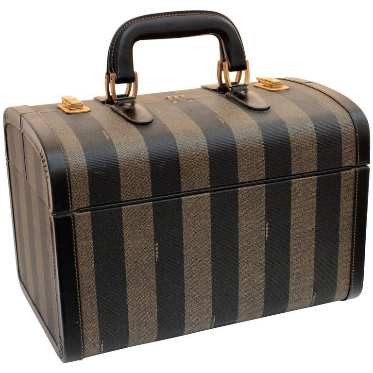 Fendi Train Case Carry On Pequin Stripe Canvas Leather Vintage Travel 1970s