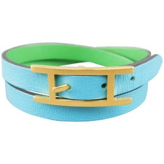 HERMES Blue & Green Leather 18k Gold Plated H Double Hapi Bracelet