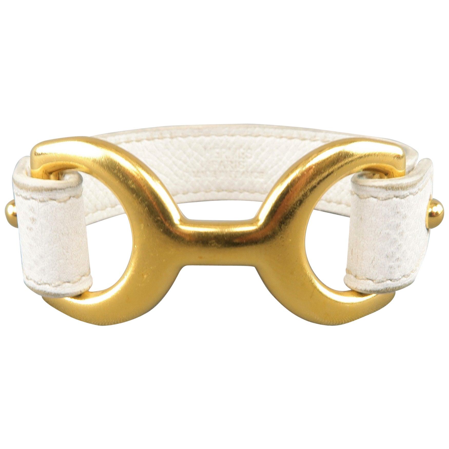 Hermes Bracelet Off White Epson Leather Gold Chamonix Pavane Cuff Jewelry At 1stdibs