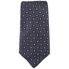 VERSACE Black & Navy Spot Pattern Silk Tie in Box