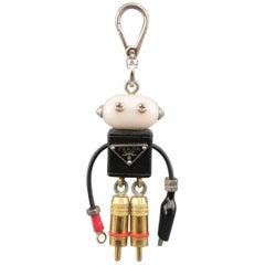 PRADA Mixed Metals Enamel Plaque Robot Wallace Keychain