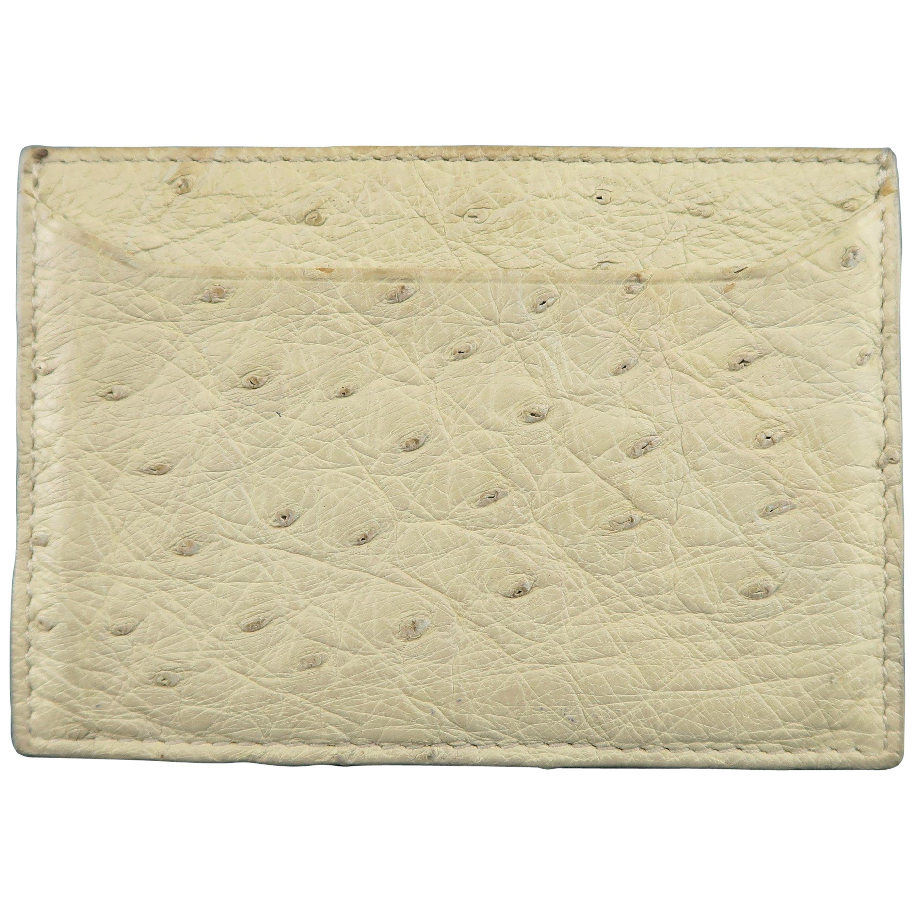 3ea8f3cf5ffd PRADA Light Beige Ostrich Leather Card Case at 1stdibs