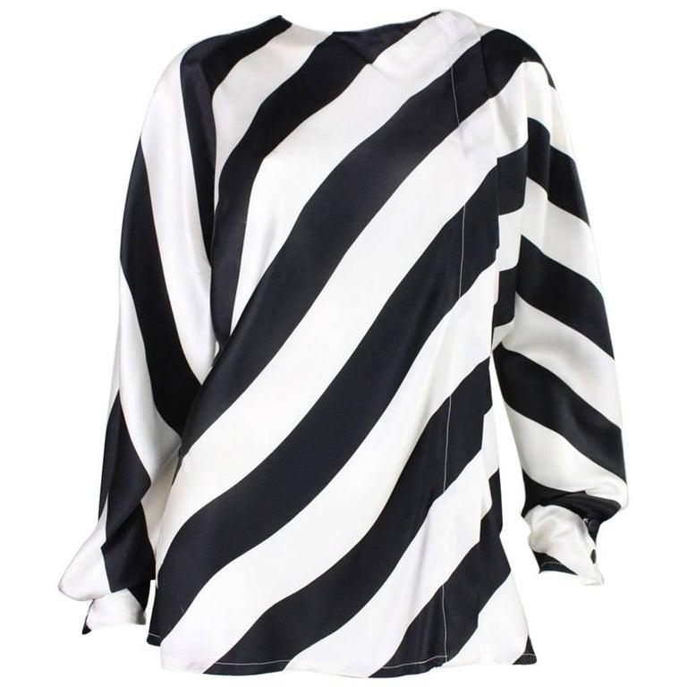 1980's Krizia Striped Silk Blouse