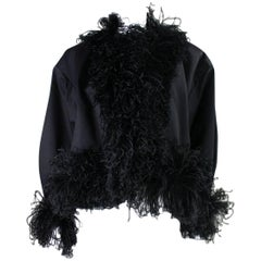 1980's Yves Saint Laurent Jacket with Ostrich Feather Trim