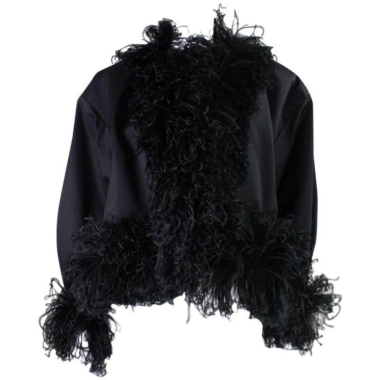 1980's Yves Saint Laurent Jacket with Ostrich Feather Trim For Sale