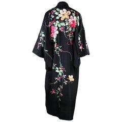 1920's Kimono Robe Black Silk with Embroidery