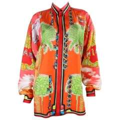 1990's Men's Versace Silk Blouse with Miami Print