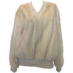 1960s Mr Blackwell White Mink V Neck Sweater