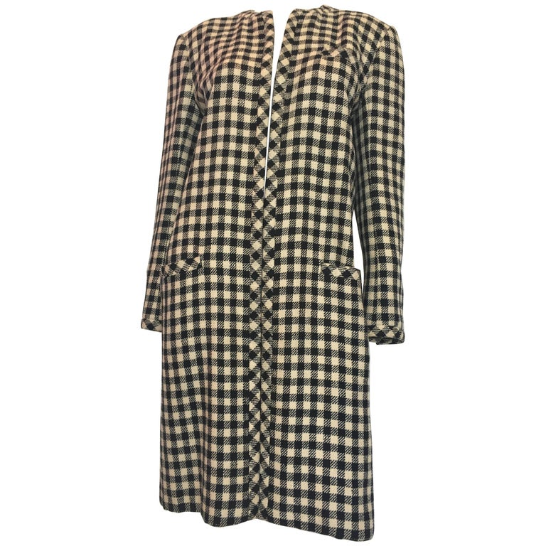Valentino Boutique Black and White Check Mid Length Wool Coat, 1980s