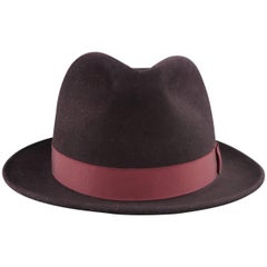 OPTIMO Size 7 1/2 Eggplant Purple Felt Fedora Hat with Box
