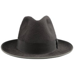 OPTIMO for WILKES BASHFORD Size 7 3/8 Charcoal Hair Felt Fedora Hat with Box
