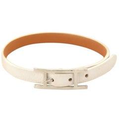 Hermes Api III White Leather Silver Tone H Logo Bracelet