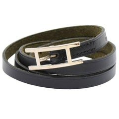 Hermes Api III Black Leather Silver Tone H Logo Long Wrap Bracelet